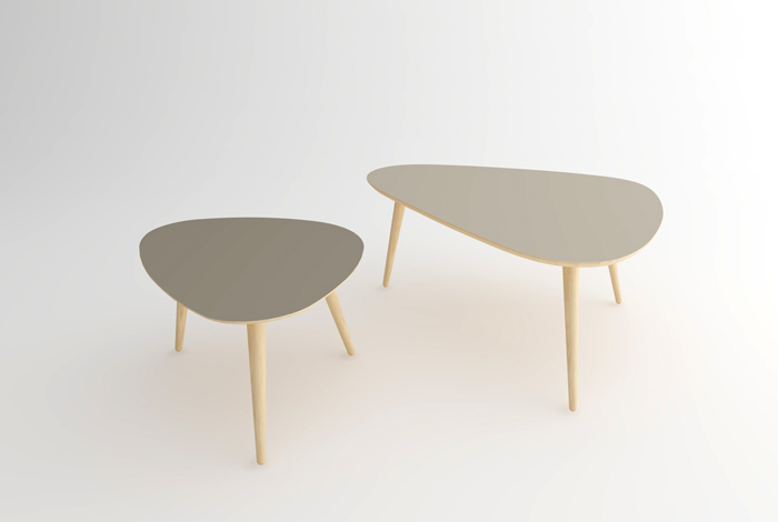 table basse gigogne style vintage - made in france - sur mesure