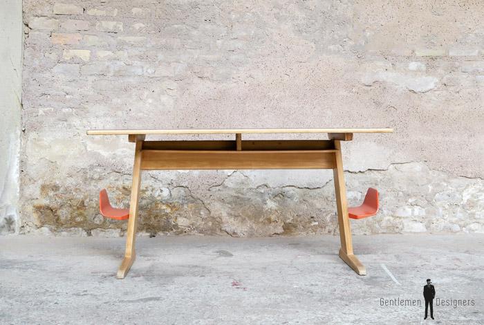 Bureau vintage colier casala en bois 2 places for Bureau ecolier ancien 2 places