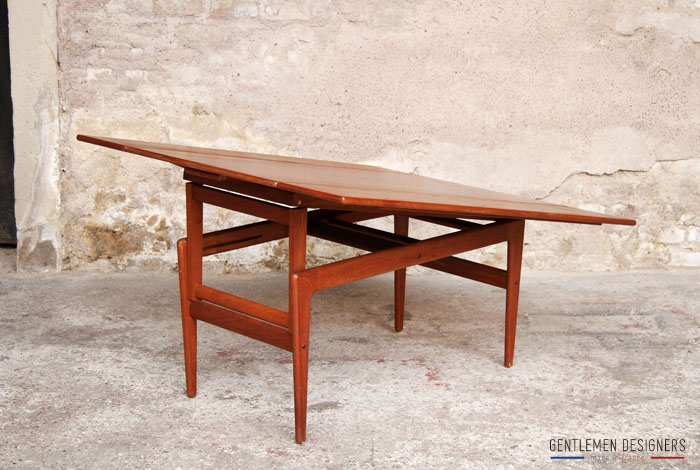 Table haute basse transformable danoise teck gentlemen for Table scandinave avec rallonge