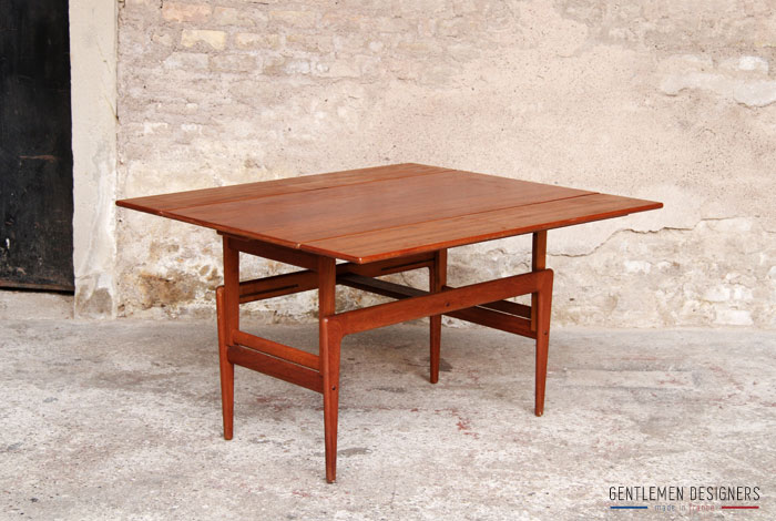 Table haute basse transformable danoise teck gentlemen for Table haute design scandinave