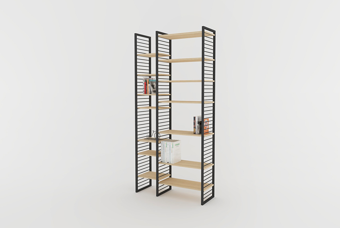 creation sur mesure etagere bibliotheque murale 2 espaces etm at cm 01. Black Bedroom Furniture Sets. Home Design Ideas