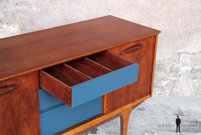 petit meuble vintage teck tiroirs bleu p trole 128 cm gentlemen designers. Black Bedroom Furniture Sets. Home Design Ideas