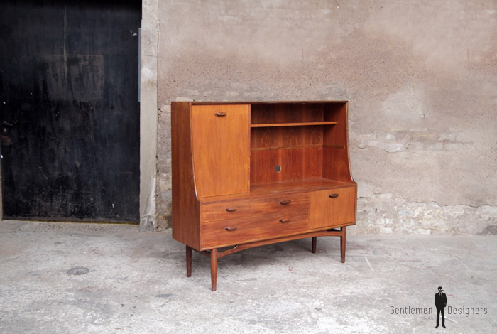 Meuble bureau tv scandinave en teck vintage 1250 for Meuble bureau annee 50