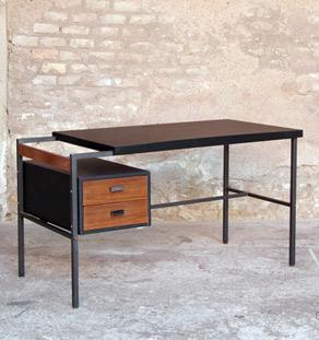 Bureau vintage scandinave noir et tiroirs teck for Bureau noir et bois