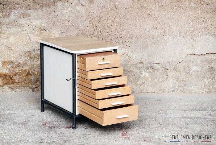 Meuble d 39 appoint bureau en bois et m tal 6 tiroirs - Table servante a roulette ...