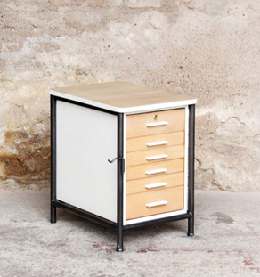 Meuble d 39 appoint bureau en bois et m tal 6 tiroirs for Made france meuble