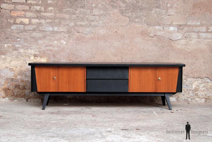 meuble tv scandinave en teck 4 portes 2 tiroirs. Black Bedroom Furniture Sets. Home Design Ideas