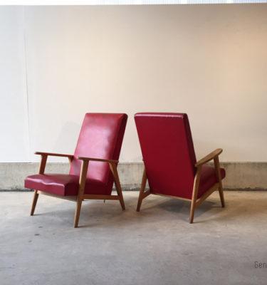 Fauteuil_paire_rouge_dossier_haut_bois_mobilier_vintage_design_annee_50_60_original_gentlemen_designers_strasbourg_alsace_paris_lyon_01