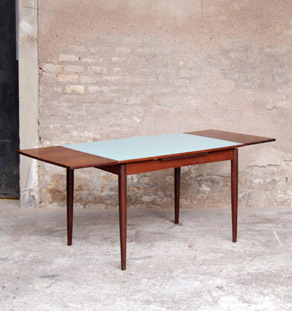 Table_scandinave_teck_rallonge_vert_eau_vintage_noir_mobilier_design_annee_50_60_original_gentlemen_designers_strasbourg_alsace_paris_lyon_vignette