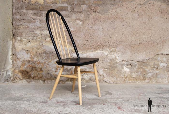 1 chaise vintage barreaux noir et bois clair style for Barreau de chaise