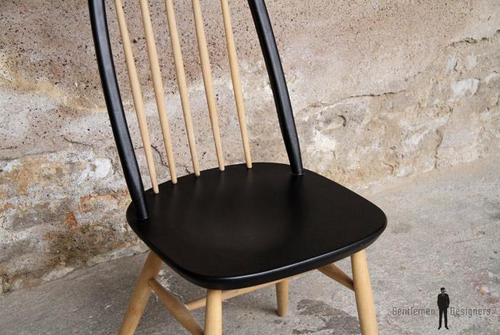 1 chaise vintage barreaux noir et bois clair style tapiovaara gentlemen designers. Black Bedroom Furniture Sets. Home Design Ideas