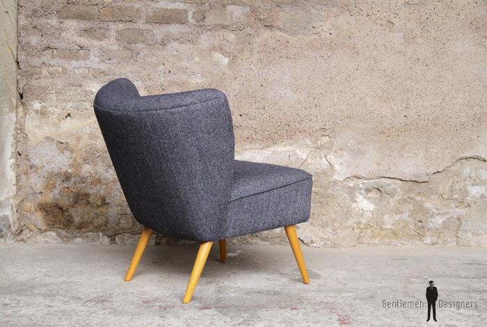fauteuil vintage cocktail tissu gris pieds compas. Black Bedroom Furniture Sets. Home Design Ideas