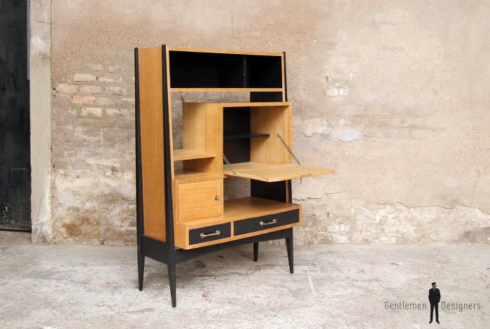 bureau secr taire vintage en bois pieds compas. Black Bedroom Furniture Sets. Home Design Ideas