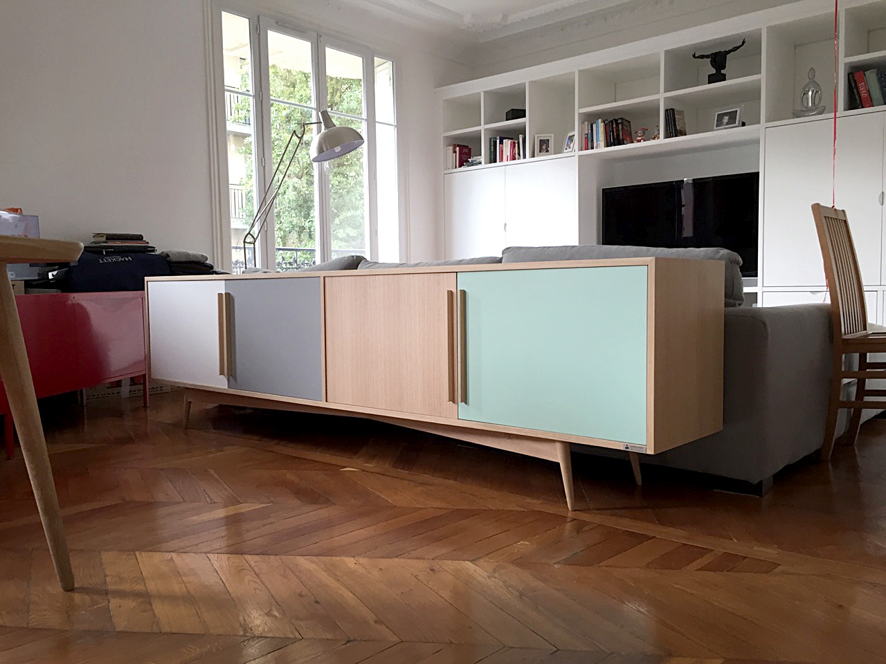 mobilier fran ais sur mesure meuble bas en bois. Black Bedroom Furniture Sets. Home Design Ideas