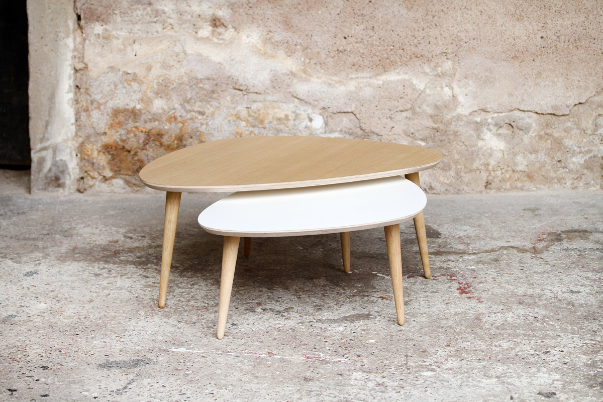 Made in france table basse tripode gigognes sur mesure - Creation table basse ...