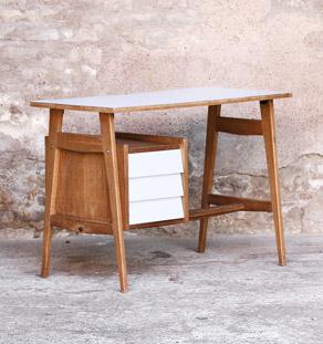 Bureau vintage 3 tiroirs, plateau Formica blanc