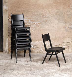 Lot de 6 chaises vintage empilables pieds compas, noir