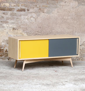 _jaune_gris_creation_sur_mesure_bois_mobilier_vintage_retro_design ...