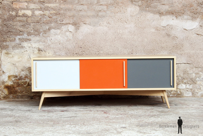 MEUBLE TV HIFI BAS ORANGE  scandinave  vintage  made in France -> Fabriquer Meuble Tv Sur Mesure
