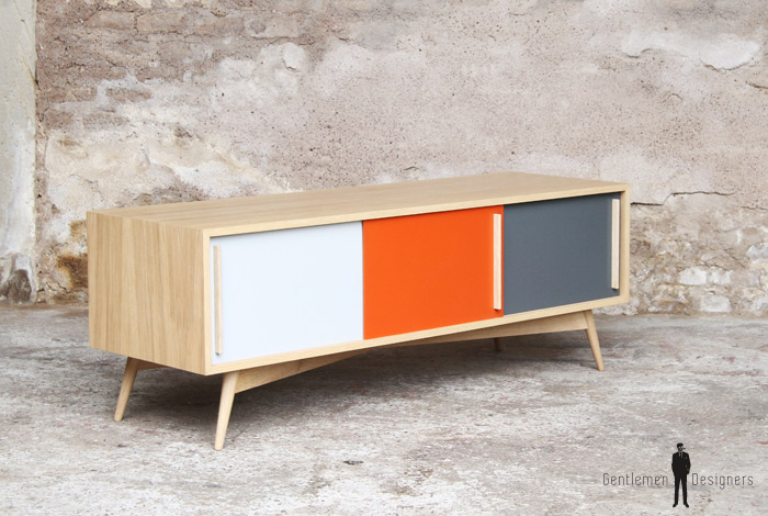 MEUBLE TV HIFI BAS ORANGE - scandinave - vintage - made in France
