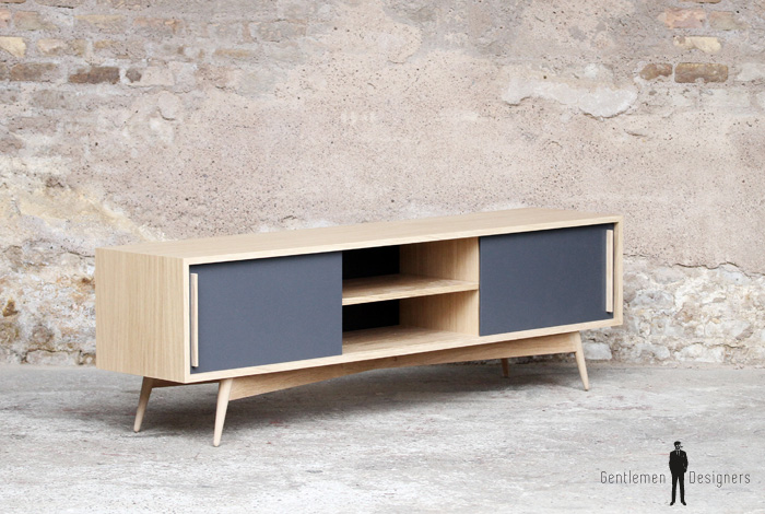Meuble tv bas chene bois made in france scandinave for Meuble hifi bas