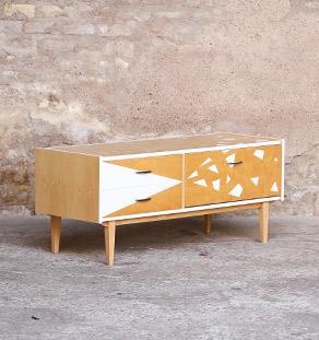 Meuble bas tv vintage graphique blanc et bois clair