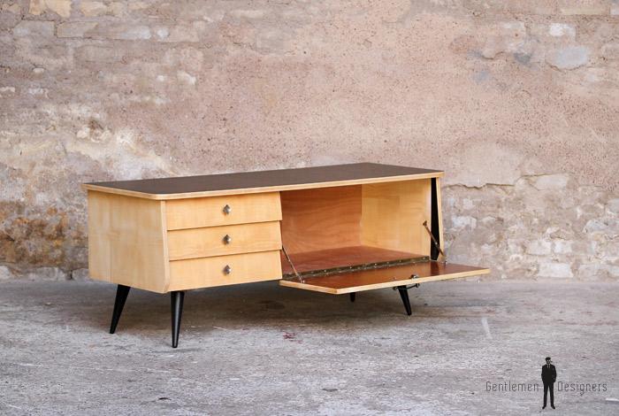 Meuble bas tv vintage noir et bois clair - Gentlemen Designers