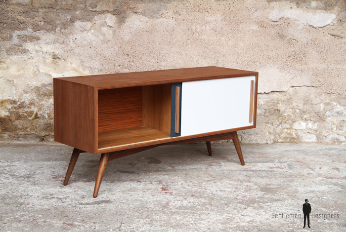 meuble tv hifi bas teck scandinave vintage. Black Bedroom Furniture Sets. Home Design Ideas