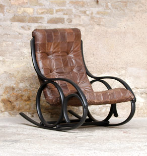 Rocking chair vintage noir et assise cuir