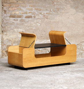 Table basse design porte revue salon chene clair
