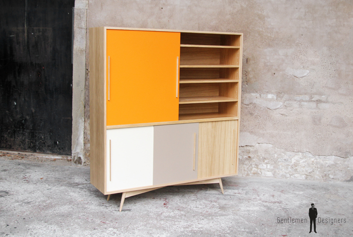 Buffet vaisselier chene clair fabriqu en france style scandinave for Meuble design strasbourg