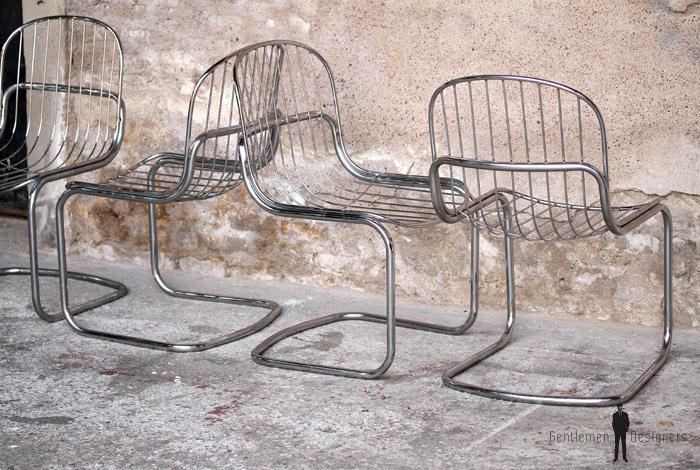 Lot de 4 chaises vintage ann e 70 m tal chrom for Chaise annee 70