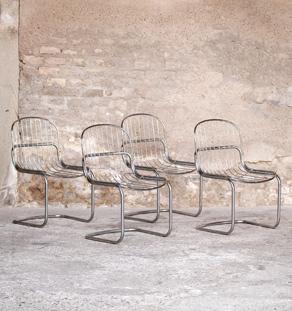 Lot de 4 chaises vintage année 70, métal chromé