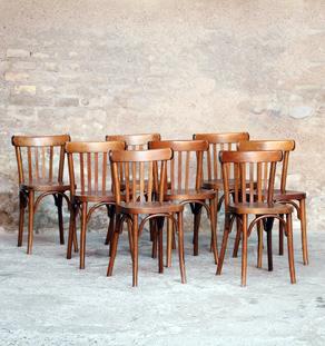 Lot de 8 chaises bistrot baumann en bois, dossier barreaux