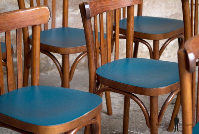 lot de 8 chaises bistrot baumann en bois assise bleu p trole gentlemen designers. Black Bedroom Furniture Sets. Home Design Ideas