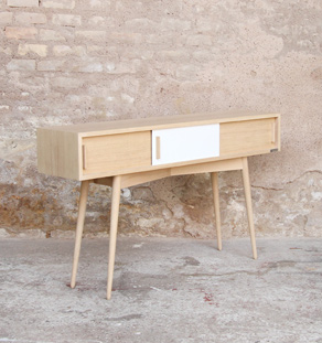 Console entree meuble vide poche haut porte coulissante chine clair bois