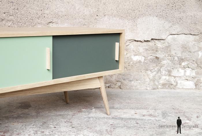 Meuble hifi tv bas vintage bois sur-mesure made in france