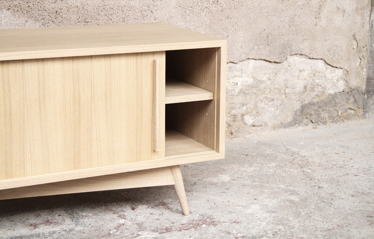 Meuble tv bas style scandinave sur mesure made in france - Meubles made in france ...
