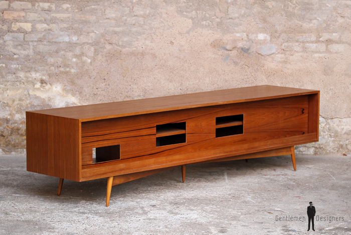 Meuble tv hifi bas teck scandinave vintage for Meuble hifi bas