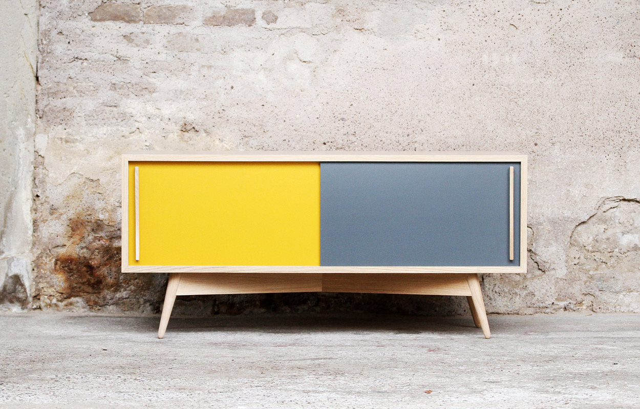 Meuble tv bas style scandinave sur mesure made in france for Meuble tv bois gris