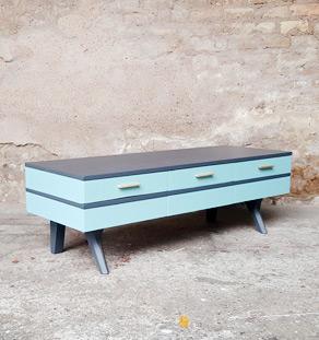 meuble bas tv vintage boi bleu gris scandinave relooké