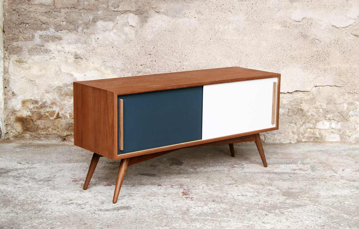 Meuble tv bas style scandinave sur mesure made in france for Meuble design strasbourg