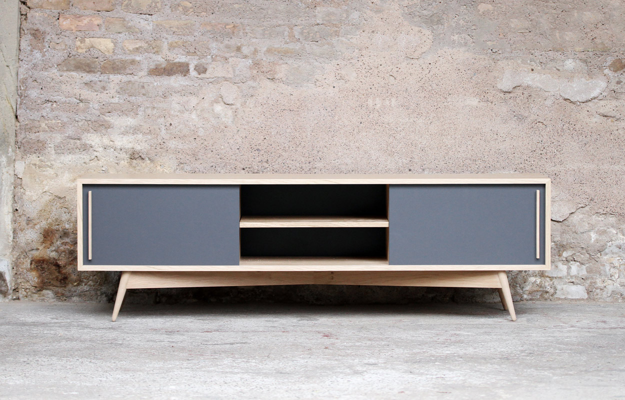 Meuble tv bas style scandinave sur mesure made in france for Meuble sur mesure
