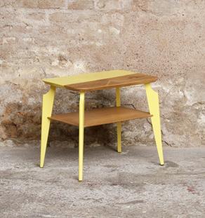 Table d'appoint, bout de canapé vintage bois, motif graphique, jaune