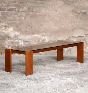Table basse vintage en teck et verre, transparente