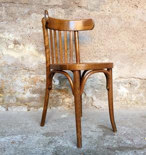 Lot de 4 chaises bistrot baumann en bois, dossier barreaux