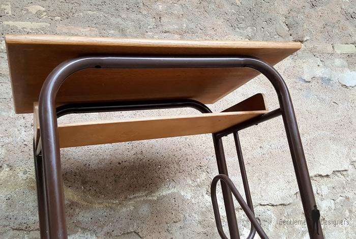 petit bureau ancien colier en bois et m tal. Black Bedroom Furniture Sets. Home Design Ideas