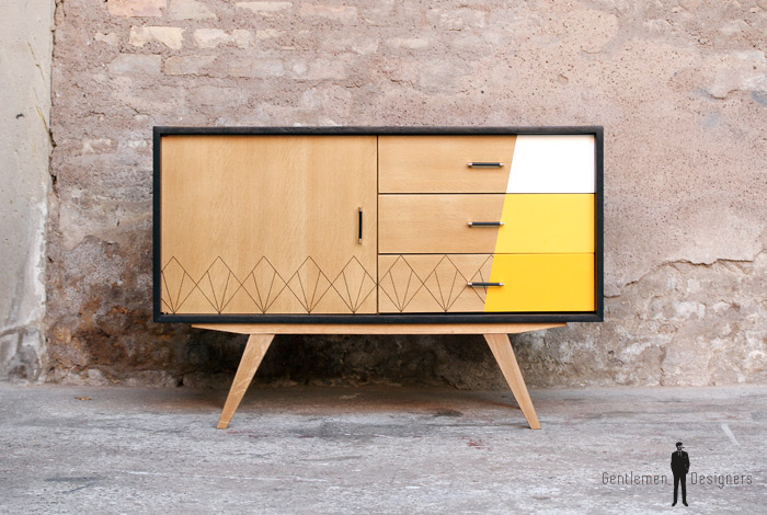 meuble buffet vintage pieds compas jaune bois clair. Black Bedroom Furniture Sets. Home Design Ideas