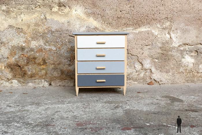 mini meuble commode bijoux fait main gris et ch ne. Black Bedroom Furniture Sets. Home Design Ideas