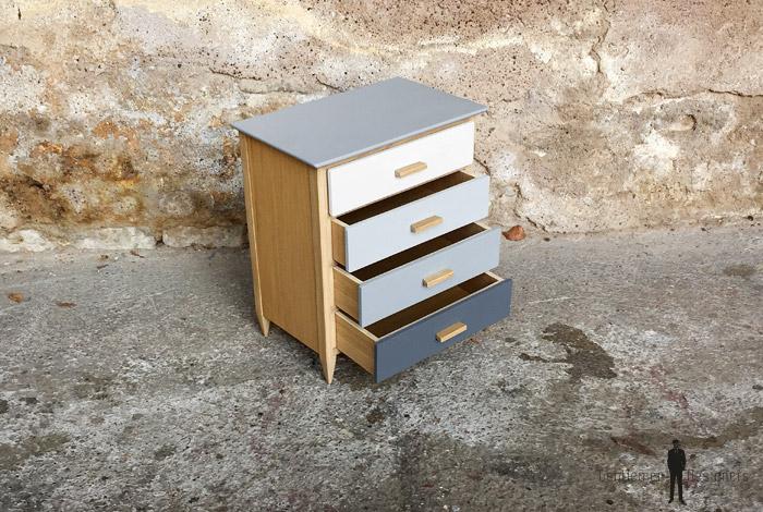 Mini meuble commode à bijoux, fait main, gris et chêne ~ Mini Commode Bois